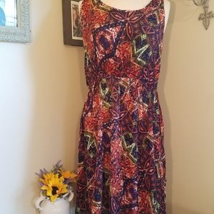 Just love orange purple short sleeve midi dress